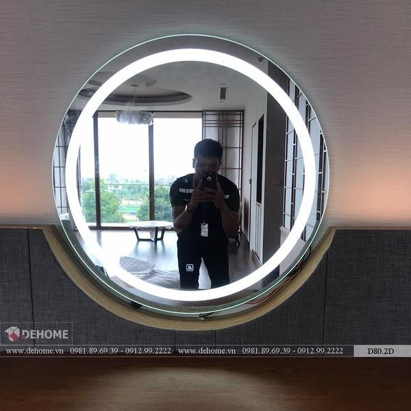 Gương Trang Điểm Tròn Treo Tường Có Đèn Cao Cấp Dehome - D80.2D