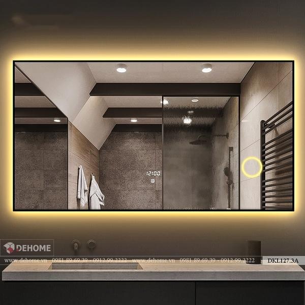 Gương Soi Nhà Tắm Khung Sơn tĩnh điện Có Đèn Led Cao Cấp Dehome - DKL127.3A