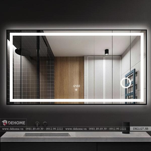 Gương Trong Nhà Tắm Có Đèn Hình Chữ Nhật Dehome - DKL127.3B