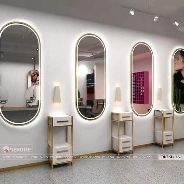 Gương Salon Hình Bầu Dục Có Led Mạ PVD Viền Mặt Gương Cao Cấp - DKL614.1A