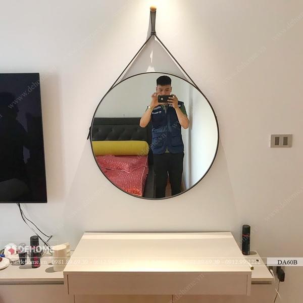 Gương Dây Da Nâu Đen Cao Cấp Dehome - DA60B