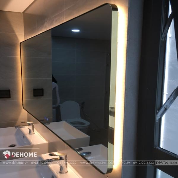 Gương Nhà Tắm Có Đèn Khung Viền Mạ PVD Cao Cấp Dehome - DPVD914.4A