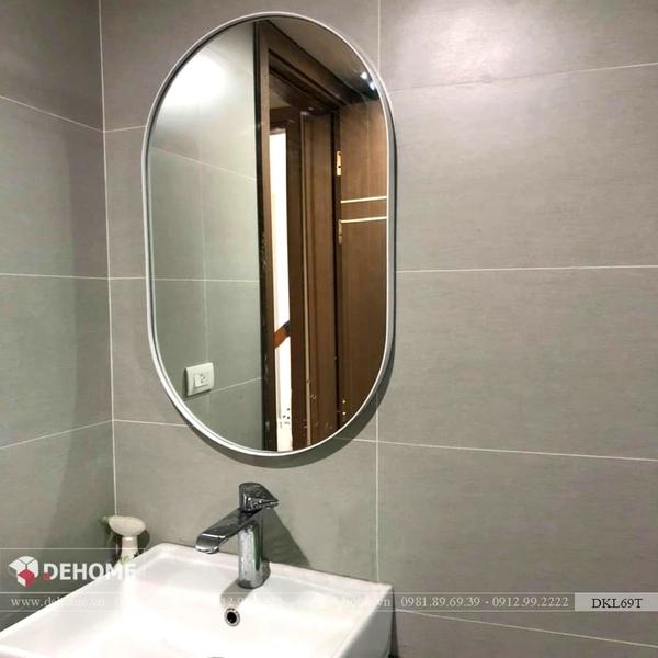 Gương Phòng Tắm Khung Kim Loại Sơn Tĩnh Điện Màu Trắng Cao Cấp - DKL69T