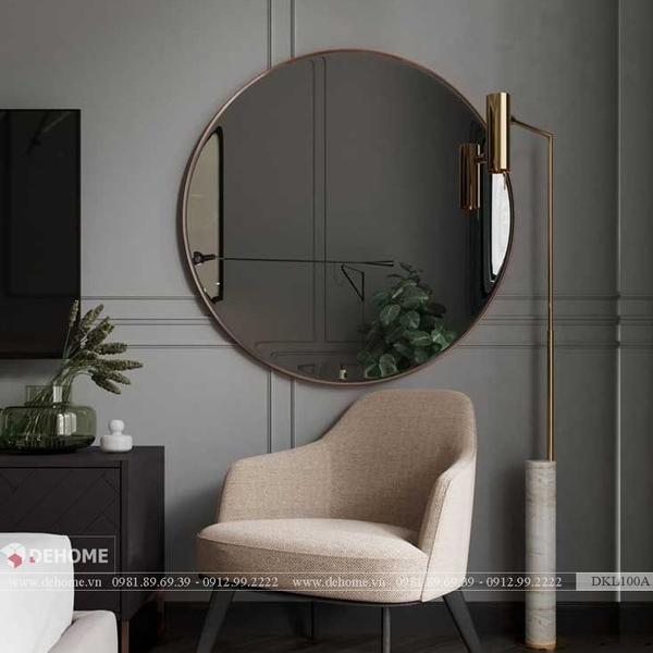 Gương Trang Trí Phòng Khách Khung Mạ PVD Vàng Cao Cấp Dehome - DKL100.A