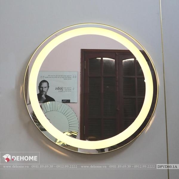 Gương Nhà Tắm Hình Tròn Có Đèn Led Viền Mạ PVD Cao Cấp - DPVD60.4C