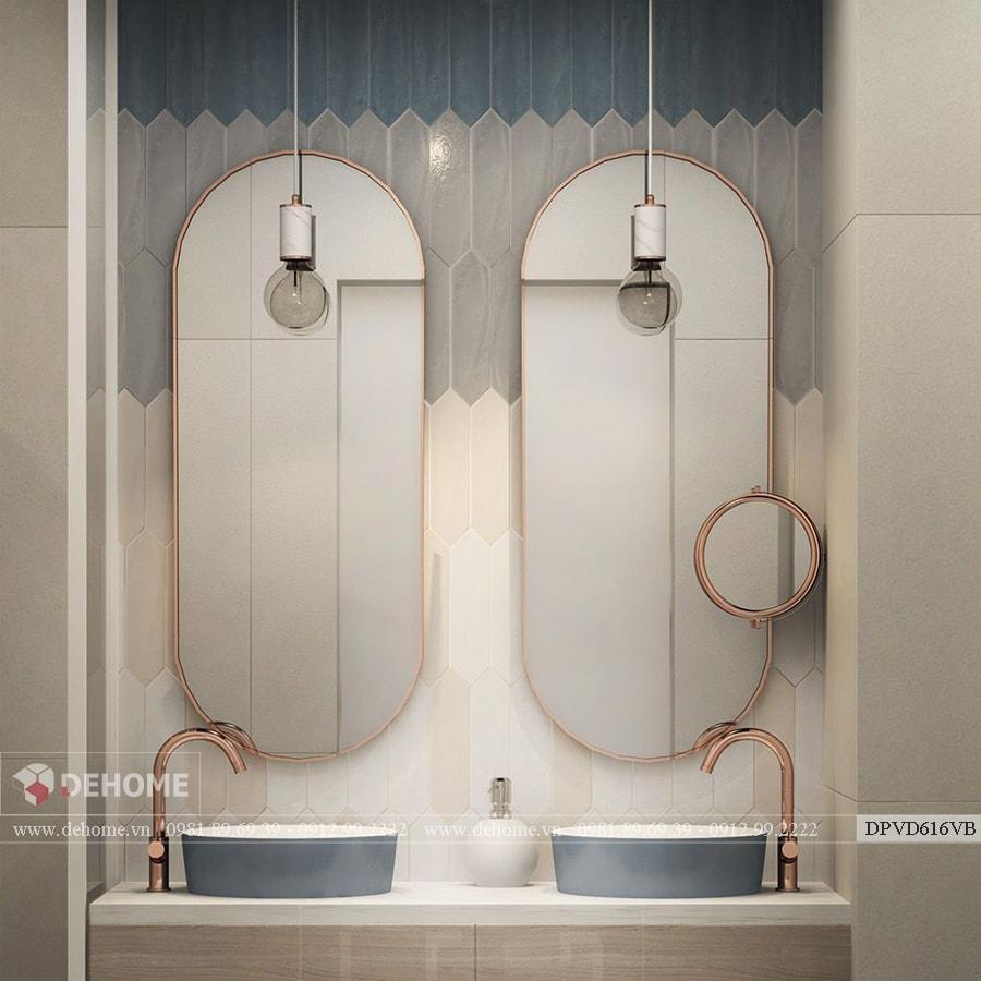Combo Gương Khung Mạ PVD Nhà Tắm Dehome - DPVD616VB