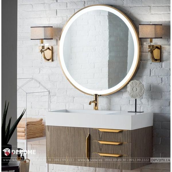 Gương Nhà Tắm Hình Tròn Có Đèn Led Viền Mạ PVD Cao Cấp Dehome - DPVD70.1A