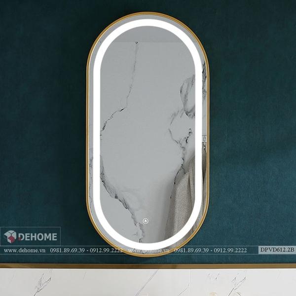 Gương Bầu Dục Khung Mạ Vàng Có Đèn LED Cao Cấp Dehome - DPVD612.2B