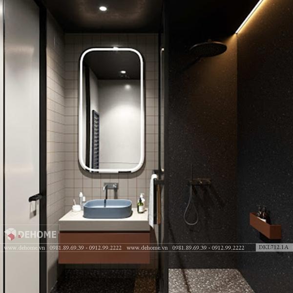 Gương Nhà Tắm Có Đèn Khung Sơn Tĩnh Điện Cao Cấp - DKL712.1A