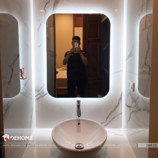 Gương phòng tắm đẹp có đèn led cao cấp Dehome - D68.1E
