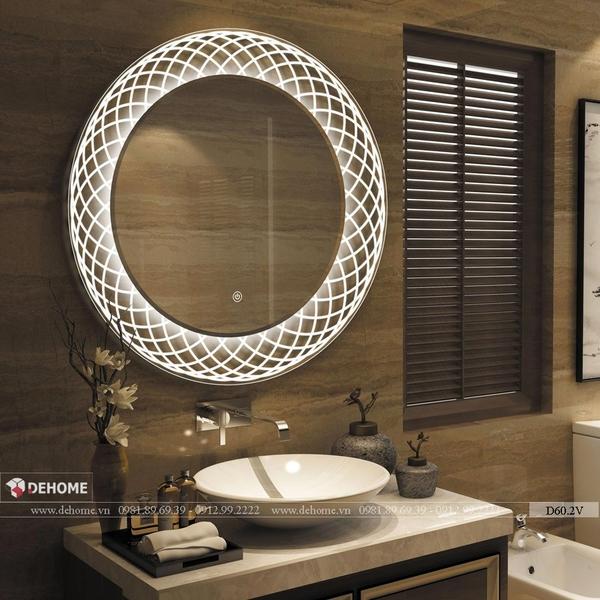Gương phòng tắm đèn led hình tròn nghệ thuật cao cấp Dehome - D60.2V