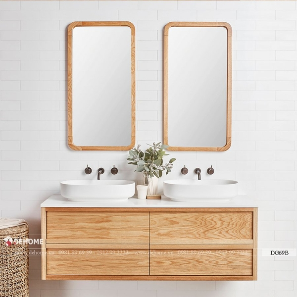 Gương khung gỗ tự nhiên cho phòng tắm cao cấp Dehome - DG69B