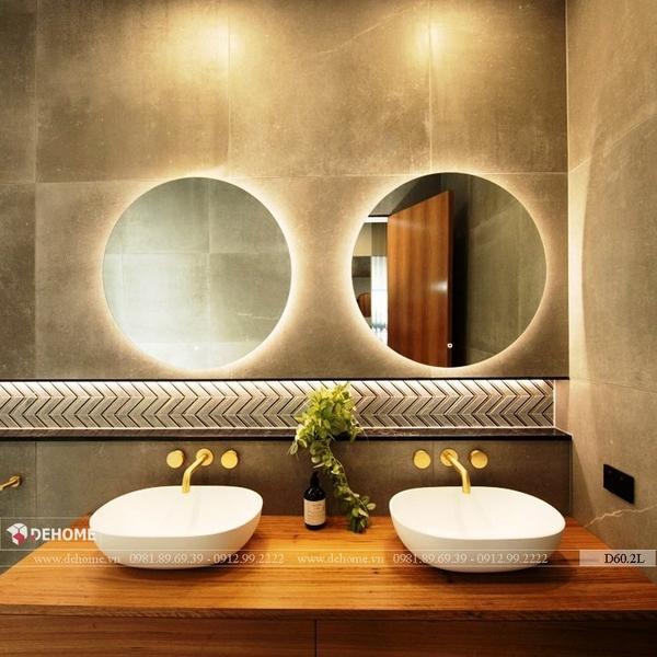 Gương tròn nhà tắm có đèn led cao cấp Dehome - D60.2L