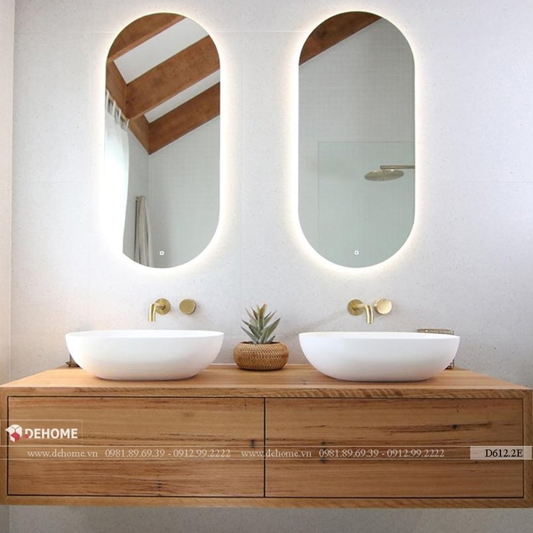 Gương nhà vệ sinh hình bầu dục có đèn led cao cấp Dehome - D612.2E