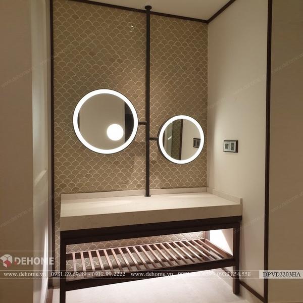 Gương khung mạ PVD phòng tắm khách sạn thiết kế độc đáo Dehome - DPVD2203HA