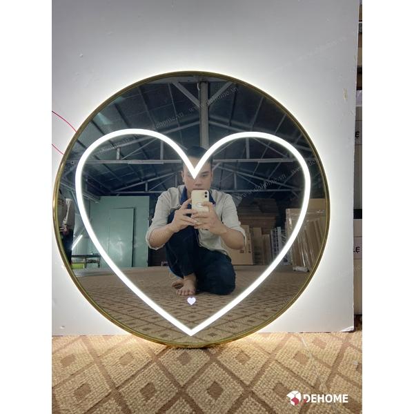Gương khung inox mạ vàng tròn cao cấp Dehome - DKLTT60.2A