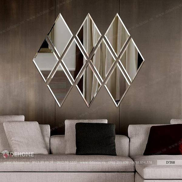 Gương ghép dán tường phòng khách Dehome DT68