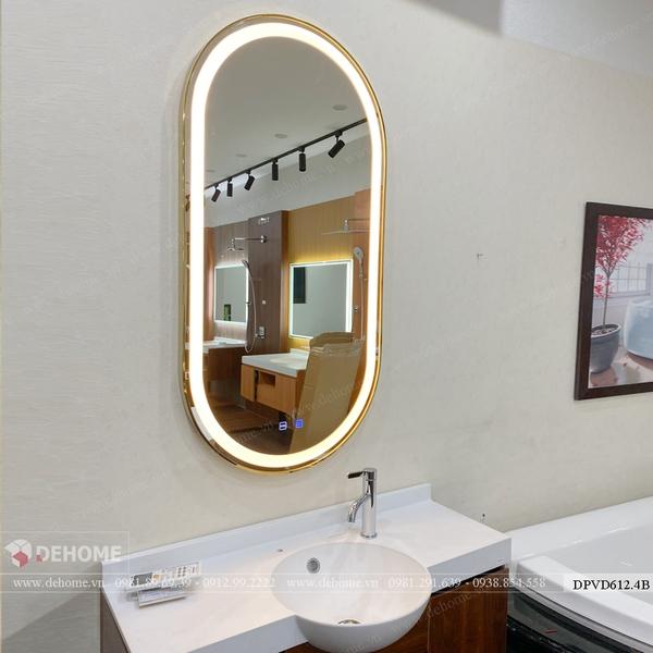 Gương Nhà Tắm Hình Bầu Dục Có Đèn Led Viền Mạ PVD Cao Cấp - DPVD612.4B