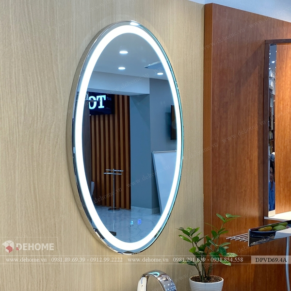 Gương Nhà Tắm Hình Oval Có Đèn Led Viền Mạ PVD Cao Cấp - DPVD69.4A