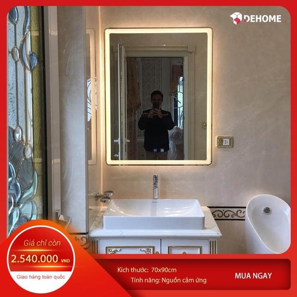 Gương nhà tắm chữ nhật đèn led cảm ứng Dehome - KM3