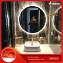Gương tròn phòng tắm có đèn led cao cấp Dehome - KM1