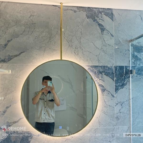 Gương khung mạ PVD có đèn led hình tròn Dehome DPVD70.2B