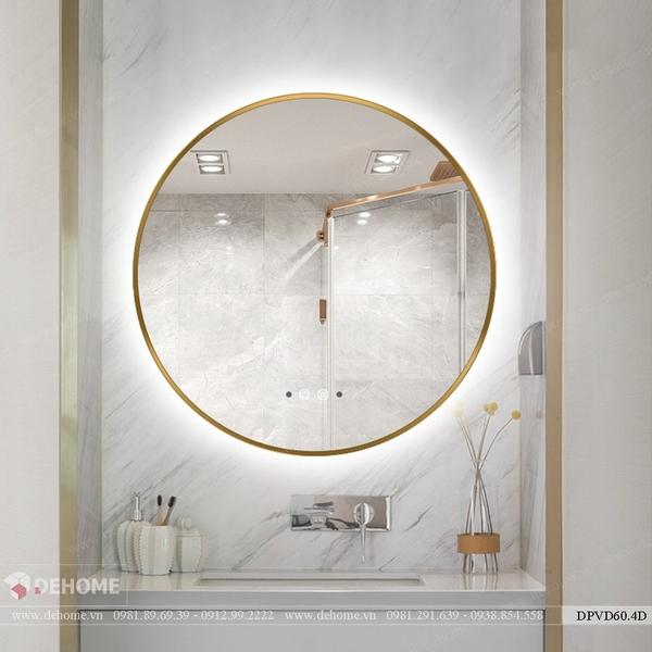 Gương tròn khung inox mạ PVD màu vàng Dehome - DPVD60.4D