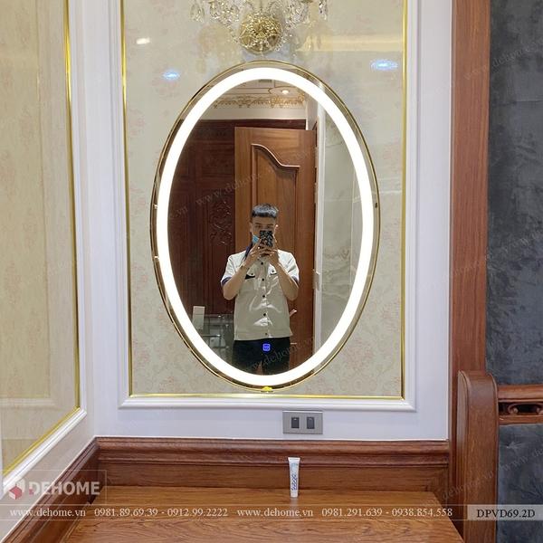 Gương bàn trang điểm khung inox mạ vàng Dehome - DPVD69.2D