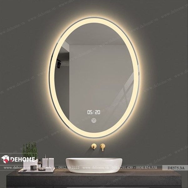Gương elip nhà tắm có đèn led cao cấp Dehome - DE575.3A