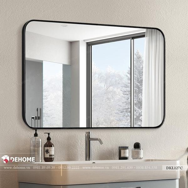 Gương khung sơn tĩnh điện đen phòng tắm cao cấp Dehome - DKL127C