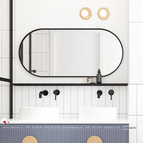 Gương phòng tắm khung sơn tĩnh điện đen bầu dục Dehome - DKL614C