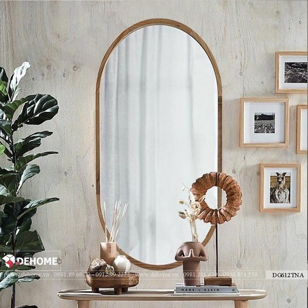Gương hình bầu dục nhà tắm khung gỗ tự nhiên Dehome - DG612TNA