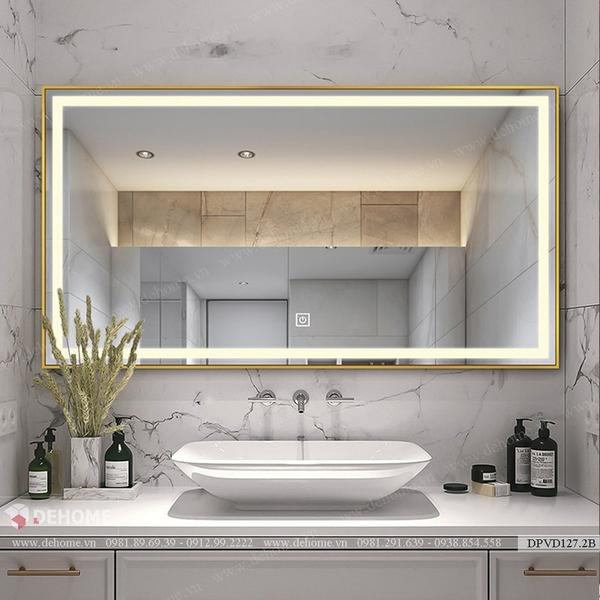 Gương phòng tắm khung kim loại mạ PVD cao cấp Dehome - DPVD127.2B