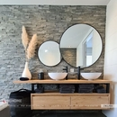 Gương tròn khung sơn tĩnh điện đen cao cấp Dehome - DKL59A