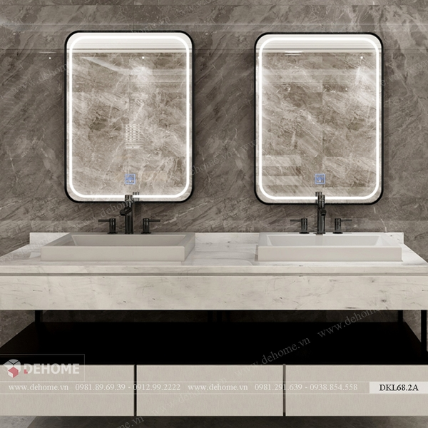 Gương khung sơn tĩnh điện chữ nhật cao cấp Dehome - DKL68.2A