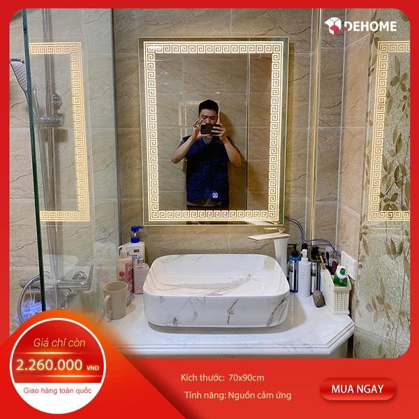 Gương nhà tắm chữ nhật họa tiết đèn led có sẵn TPHCM - KM16