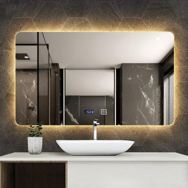 Gương tràn viền chữ nhật có đèn led cao cấp Dehome - KM18