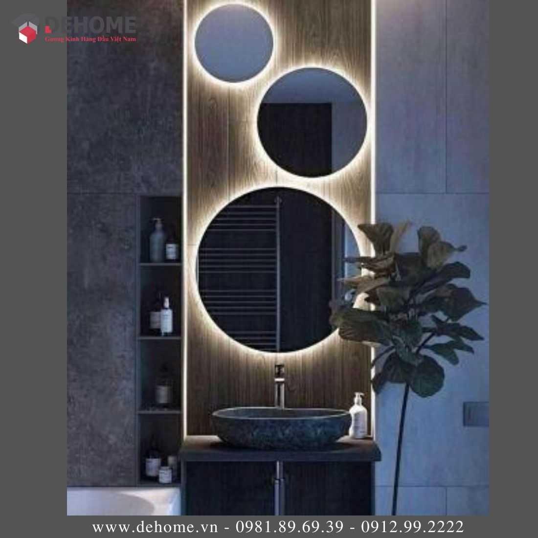 Gương Phòng Tắm Cảm Ứng Tròn Có Led Dehome DH60-34